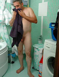 Playful gal spying on aged man in the shower and getting her wet slit boned