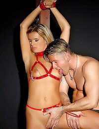 Collared blonde bitch takes t...