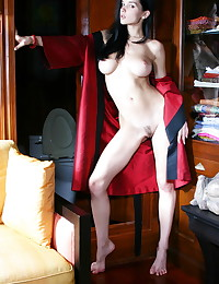 Katie Fey - The big tits under the lovely red robe are very sexy