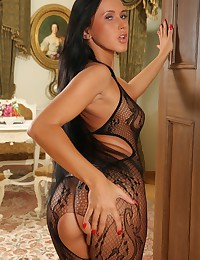 Angelika Kitten is smoking-hot in her sheer crotchless bodysuit.