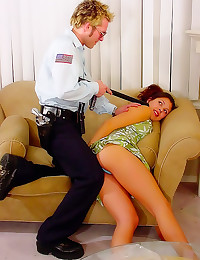 Policeman fools around with s...