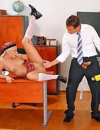 Schoolgirls share his older cock