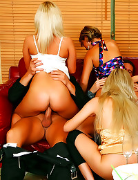 Sexy satin girls group sex