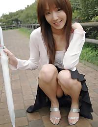 Solo Japanese girl models bra