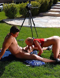 Cheerleader porn in backyard