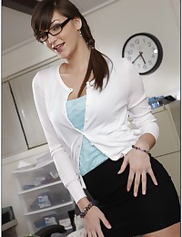 Skirt and glasses on office chick