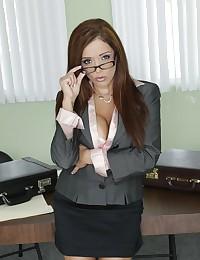 Office Babe Francesca Rides Black Wang