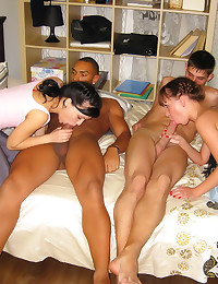 Interracial sex at fun party
