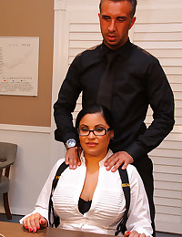 Brunette takes cock at office