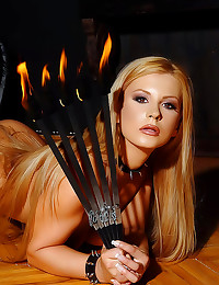 Sexy girl plays with fire