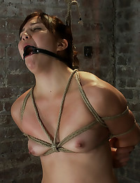 18yr old is bound, gagged, pushed to the dirty floor, finger fucked until she cums & bound tighter. Made to cum over & over. Left to suffer in bondag