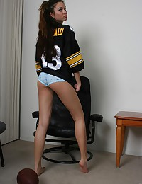 Jenny Reid loves football and is showing off in a Pittsburgh Steelers jersey today.