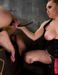 Blonde Dominatrix with gorgeous tits makes slave boy BARK!