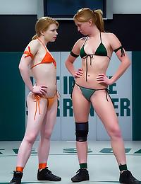 Bikini redheads wrestle and fuck