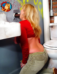 Milf gobbles cock in bathroom
