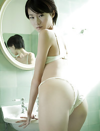 Lingerie on skinny Japanese beauty