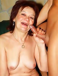 Granny rides a hard cock