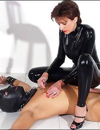 Full black latex catsuit