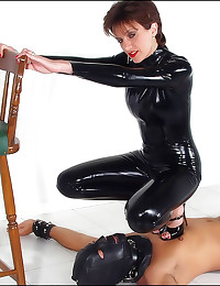 Full black latex catsuit