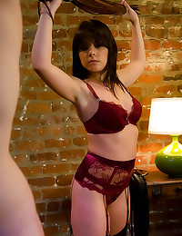 Chick in stockings whips him