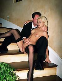 Stockings blonde hardcore sex