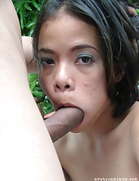 Horny Asian Babe Banged Outdoors