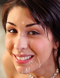 Pretty Brunette Enjoys Gooey Facial