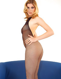 Fishnet body stocking is sexy