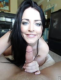 Raven Haired Vixen Sucks Big Pole