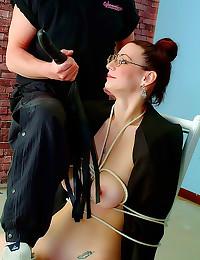 Nice natural tits girl tied u...