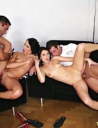 Foursome with two Euro sluts