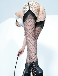 Riding crop and fishnet panty...