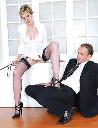 Milf teases him with her high...