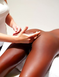 Oiled up black body rubbed