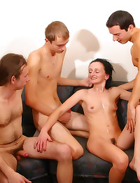 Young guys gangbang a milf