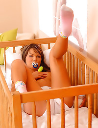 Diaper girl fed by mommy