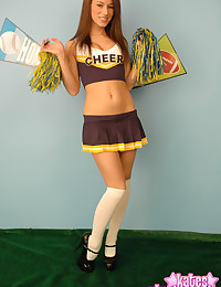 Kate is posing as a cheerleader and she looks awfully good.