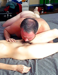 Licking hairy mature cunt