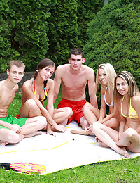 Sabrina Blond - Steamy outdoor sex party of two studs and three girls caught on camera