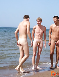 Very Hot Gay Beach Threesome