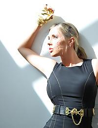 Pornstar in tight black dress