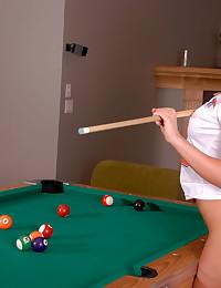 Karen Dreams - Hot cheerleader posing on the pool table