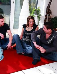 Three men for cute girl