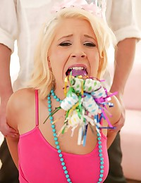 Vivacious blonde tries bondage