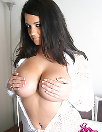 Southern Brooke - She's dressed in a white mesh outfit and looking bodacious