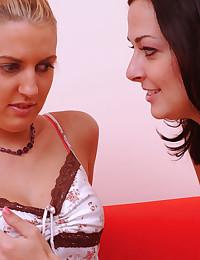 Cute lesbians share a toy