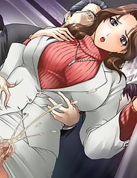 Slutty busty hentai housewife choking on chunky cum loads