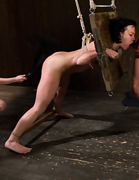 Pain slut is taken down by two hot blonde lezdom s and ass fucked in bondage.