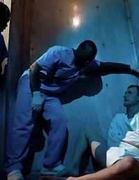 Cameron Adams gets tied up and fucked in the psych ward by two black studs.