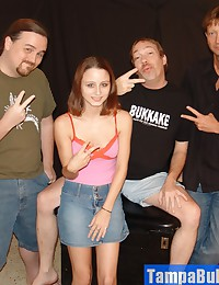 Cute Teen Girl Going for it with Three Guys